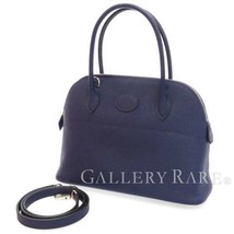 HERMES Bolide 27 Veau Epsom Blue Encre Handbag Shoulder Bag France #D Authentic - $6,509.75
