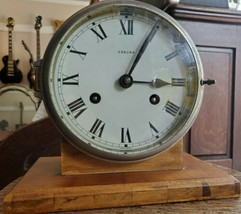 Vintage Endura Brass Ship's Bell Clock Made in Germany w/ Custom Wooden ... - £138.91 GBP