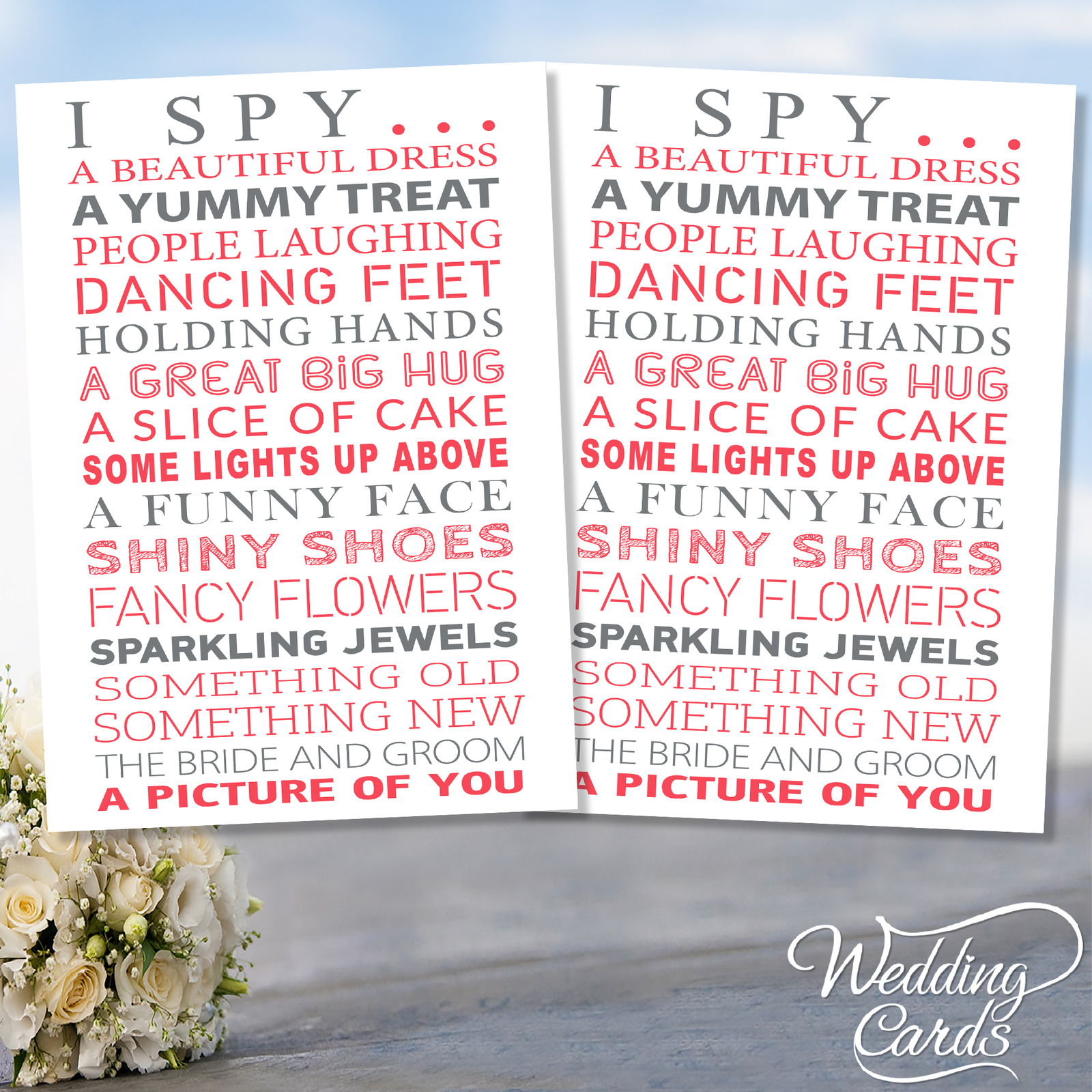 2 x Wedding I Spy Game Camera KidsTable Activity Favour Personalised Cards A5
