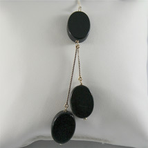SOLID 18K WHITE GOLD PENDANT, 2,56 3,15 INCHES, BLACK ONYX DROPS, VENETIAN LINK image 1