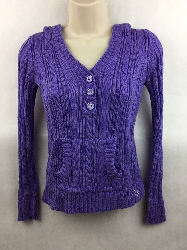 Primary image for Girl's Justice Purple Cable Knit Hooded Pullover Top Size 14