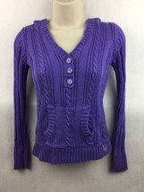 Girl's Justice Purple Cable Knit Hooded Pullover Top Size 14 - $12.86