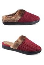 Isotoner Signature Womens Metallic Knit Faux Fur Chili Burgundy Slippers... - $9.49