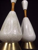 Danish table lamp x2 MID CENTURY MODERN genie speckle EAMES teak ceramic... - $172.61
