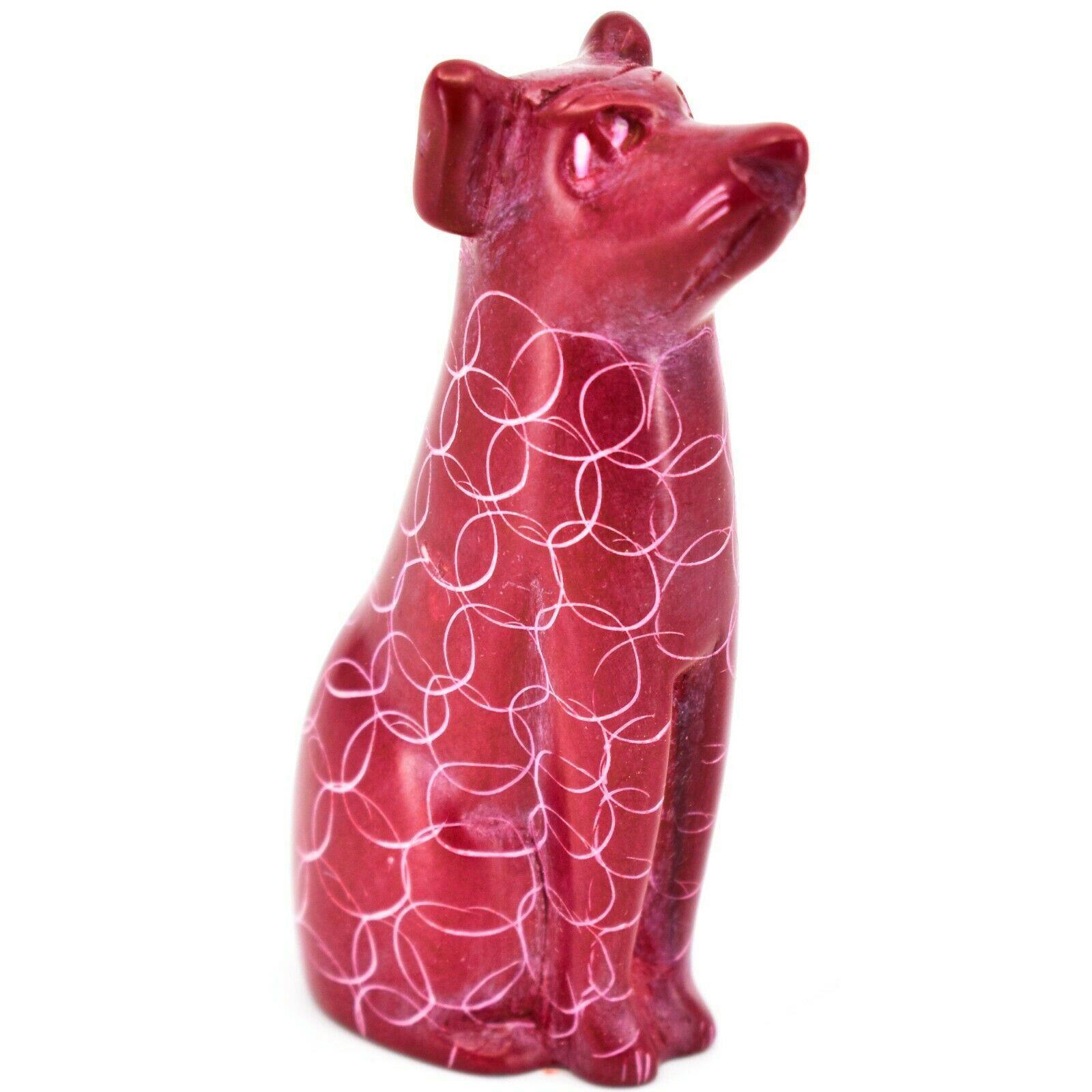 Vaneal Group Hand Carved Kisii Soapstone Sitting Red Puppy Dog Figurine Kenya