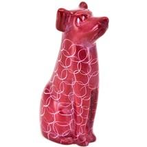 Vaneal Group Hand Carved Kisii Soapstone Sitting Red Puppy Dog Figurine Kenya image 1