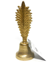 Palm Leaf Handle Bell Gold Brass Finish Decor Piece Brand New with Tags ... - $10.00