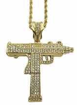"Mens 14k GP Hip Hop Large Uzi Gun Rifle Bling Pendant Necklace 30"" Rope ... - $9.49"
