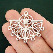 SPK 2 Pcs Filigree Chandelier Connector Charms Beads Silver Tone 2 Sided... - $7.60