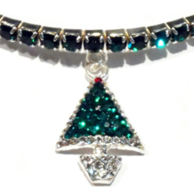 Anklet Christmas Tree Green Multi Crystal Charm Dangle Stretch 9 Inch Silvertone - $21.99