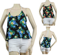 Cute Flower Print Halter Racer Back TANK TOP Lace Trim, Stretch Casual Shirt SML - $17.99