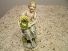 Vintage ANDREA by SADEK Porcelain Woman Figurine with Flowers in Hat Japan - $17.33