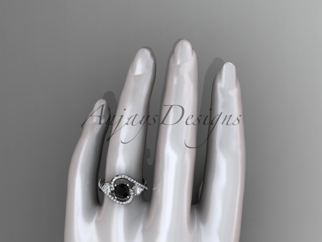 Unique 14kt white gold engagement ring with black dimaond center stone ADLR320