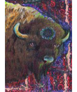 originial ACEO drawing bison buffalo zentangle design - $9.99