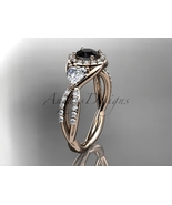 Unique bridal ring, 14kt rose gold diamond engagement ring, with black d... - $2,270.00