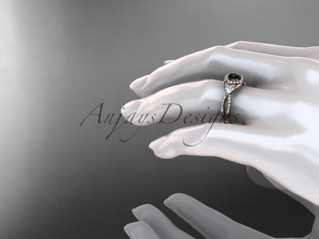 Unique bridal ring, 14kt rose gold diamond engagement ring, with black diamond c