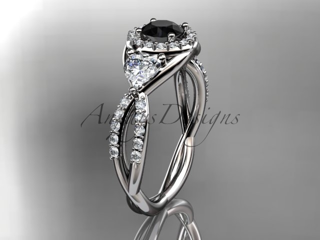 Leafring321 white gold  platinum  diamond wedding ring  diamond engagement ring  black diamond  1
