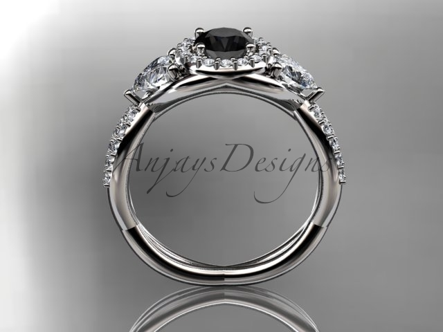 Unique bridal ring, 14kt white gold diamond engagement ring, with black diamond