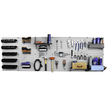 8ft Metal Pegboard Master Workbench Kit - Gray Toolboard & Black Accesso... - $336.49