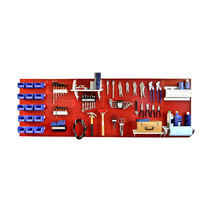 8ft Metal Pegboard Master Workbench Kit - Red Toolboard & White Accessories - $336.34