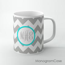 Grey chevron cup, Aqua label and monogram, personalized Coffee cups, mugs - $12.99