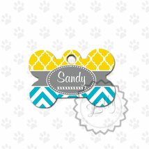 Sunny yellow and Aquamarine Pet tag, charcoal ribbon metal ID, dog name tag - $8.99