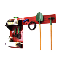 Pegboard Garden Tool Board Organizer W/ Red Pegboard And Black Accessories - $106.82