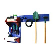 Pegboard Garden Tool Board Organizer W/ Blue Pegboard And Red Accessories - $106.82