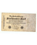GERMANY 1922 REICHSBANKNOTE 500 MARK CIRCULATED... - £2.38 GBP