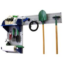 Pegboard Garden Tool Board Organizer W/ Gray Pegboard And Blue Accessories - $106.82