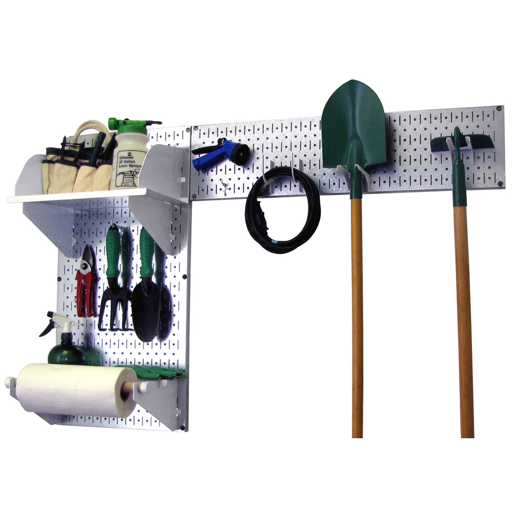 Pegboard garden tool board organizer w metallic pegboard for Garden tools accessories