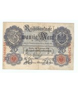 Germany 20 mark 1914 circulated banknote - £3.10 GBP