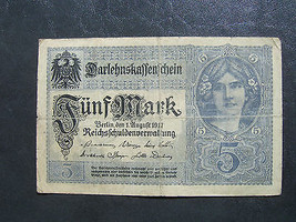 nt. Germany banknote Berlin 5 Mark 1917 - Ser. E 2371590 - $5.00