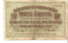 nl1 Germany Occupation Darlehnskasse Posen Poznan 3 Roubles Rubel 1916 J... - $6.00