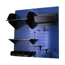 Craft Pegboard Organizer Storage Kit W/ Blue Pegboard And Black Accessories - $148.39
