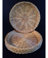 """BAMBOO/WICKER PAPER PLATE HOLDERS, LOT OF 4, NATURAL, FOR 9"""" PLATES, TAI... - $9.99"""