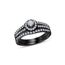 Fashionable Black Rhodium Fn 925 Sterling Silver With White CZ Bridal Ri... - $73.82