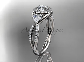 Unique engagement ring, 14kt white gold diamond engagement ring with a M... - $2,035.00