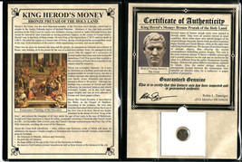 Ancient Roman Herod Prutah of The Holy Land Coin with Certificate and Album - $43.55