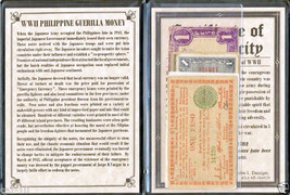 Five WWII Philippine Guerilla Printed Banknotes with Album & Certificate - $21.77