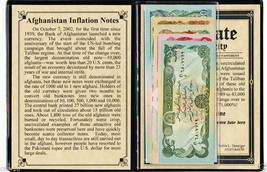 Afghanistan set of 5 Uncirculated Inflation Banknotes & Album,Story,Cert... - $15.83