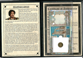 Moammar Gadafi Set of 2 Banknotes and 1 Coin with Story,Certificate and ... - $19.79
