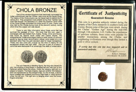 11th CAD bronze coin of the Chola Dynasty that ruled south India,&certif... - $16.82