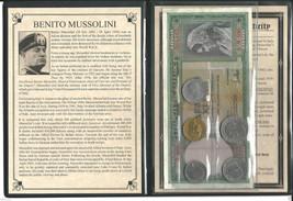 Benito Mussolini Fascist, Set of 5 coins & 2 banknotes,  Album & Certifi... - $48.79