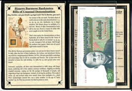 5 Bizarre Burmese Banknotes  of Unusual Denomination  Album,Story & Cert... - $33.66
