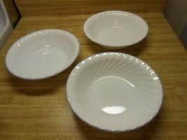 corelle bowls white swirl with purple rim - $14.20
