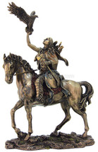 """Indian Warrior on Horse with Eagle 9""""H X 6""""W  Bronze Statue Reproduction - $59.78"""