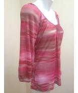 Express S Top Red Pink Striped Semi Sheer Mesh Raglan 3/4 Sleeve Vibrant... - $17.62