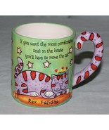 Rex Felidae Cat Mug Redwine Embossed For Most Comfortable Seat Move the Cat - $9.85