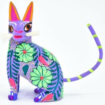 Handmade Alebrijes Oaxacan Wood Carved Painted Folk Art Sitting Cat Figurine image 1
